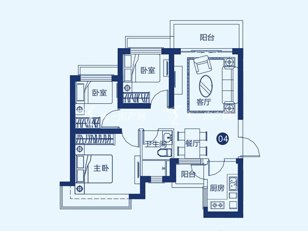 北海恒大御景半岛27#一单元04户型,3室2厅1卫,建筑面积约87.41平米.jpg