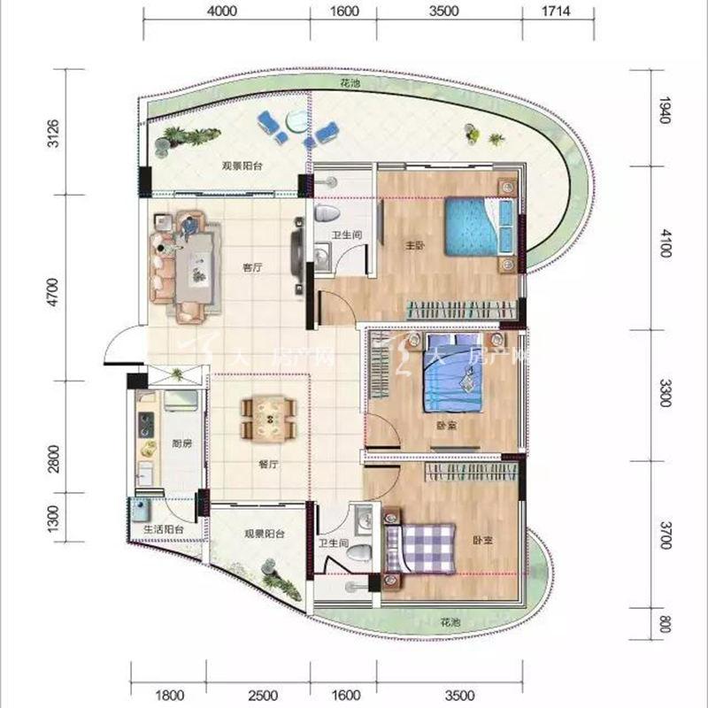 清凤椰林湾在售B户型建筑面积79㎡三房两厅双卫.jpg