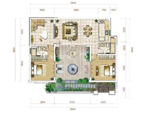 俊发玉龙湾B1户型联排5室2厅4卫1厨建面136㎡1层.jpg