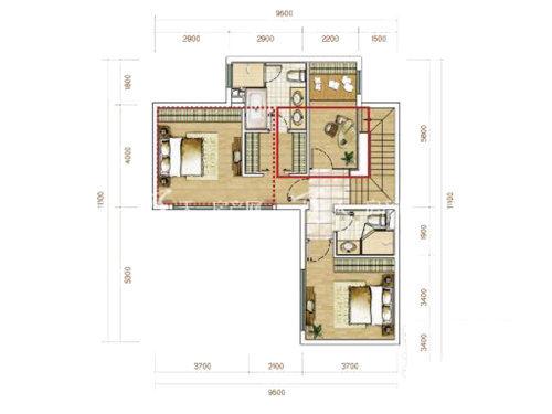 俊发玉龙湾C2户型联排4室2厅3卫1厨建面89㎡2层.jpg